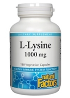 L-Lysine 1000mg - 180 V Caps - Natural Factors