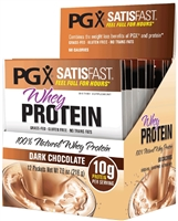 PGX Satisfast  Whey Protein 100% Natural Whey Protein, Dark Chocolate - 12 Packets Powder - Natural Factors