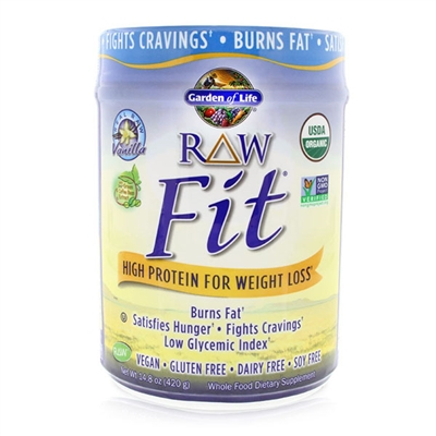 RAW Fit Organic Protein Powder Vanilla - 14.8 oz (420g) - Garden of Life 658010117418