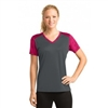 Sport Tek Camohex Colorblock V-neck Tee - Ladies