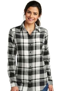 Port Authority Plaid Flannel Button Down Shirt-Ladies