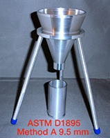 Funnel, Pourability and Bulk Density Cup, ASTM D1895, Method A 9.5mm, KC800811