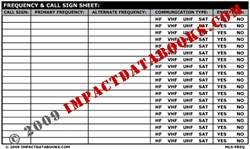 Frequency Call Sign Sheet