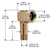 Brass swivel for hose reels