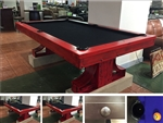 8FT Rex Steel Billiard Pool Table with Custom Red Finish