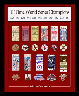 "Framed 16x20"" St Louis Cardinals World Series replica tickets & patches"