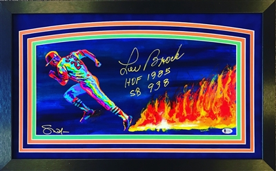 10x20 St Louis Cardinals Lou Brock Steven Walden print autographed by the artist & inscribed by Lou Brock