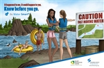Water Smart Open Water Hazard, Caution Fast Moving Water Poster