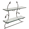 Pictured is the Leaf Wall Shelf & Towel Bar from Stone County Ironworks, available with different finishes and shelf options, sold at Timeless Wrought Iron