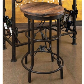 Pictured here is the Vineyard Bar Stool with vintage wood seat and hand-forge wrought iron base by Bella Toscana