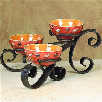 Pictured here is the Wrought Iron Amalfi Triple Bowl Server by Bella Toscana