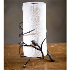 Wrought Iron Fruitwood Paper Towel Holder by Bella Toscana