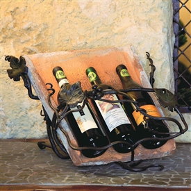Pictured here is the Wrought Iron Tile Wine Easel - 3 Bottle by Bella Toscana
