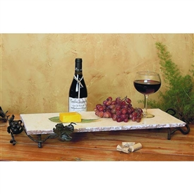 Wrought Iron Large Rectangle Marble Server by Bella Toscana