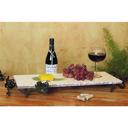 Pictured here is the Vineyard Large Rectangle Marble Server by Bella Toscana