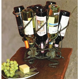Wrought Iron Wine Lazy Susan - 9 bottle by Bella Toscana