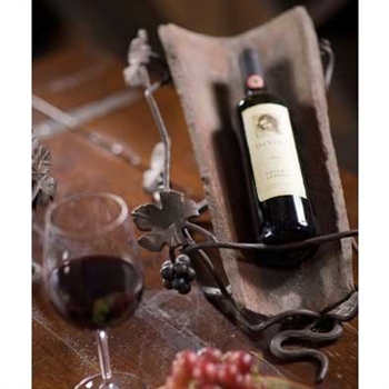 Pictured here is the single wine bottle holder with a wrought iron stand and Tuscan roof tile from Bella Toscana.