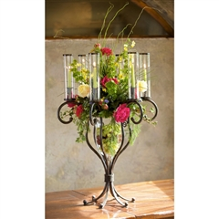 Wrought Iron Tabletop Candelabra with Glass by Bella Toscana