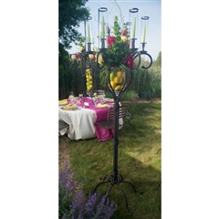 Wrought Iron Floor Candelabra with Glass by Bella Toscana