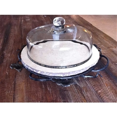 Wrought Iron Marble Lazy Susan - Low Boulder by Bella Toscana