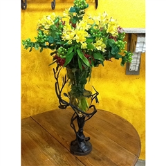 Wrought Iron Fruitwood Vase by Bella Toscana