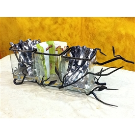Wrought Iron Fruitwood Triple Utensil Holder by Bella Toscana