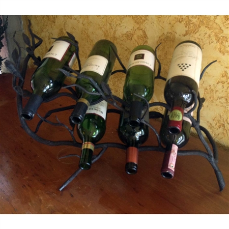 Wrought Iron Fruitwood 7-Bottle Wine Rack by Bella Toscana