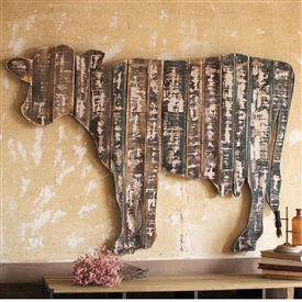 Pictured here is the Hanging Wooden Cow Wall Art at TimelessWrought Iron.
