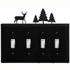 Wrought Iron Deer & Pine Quad Switch Cover
