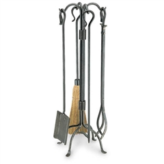 Wrought Iron 5 Piece Shepherd's Crook Fireplace Tool Set by Pilgrim