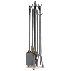Wrought Iron 5 Piece Old World Fireplace Tool Set by Pilgrim