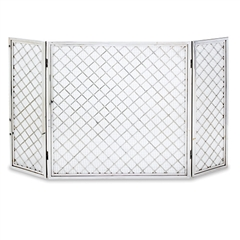 Pictured here is the Hartwick 3 Panel Screen with lattice design available in brass or polished nickle