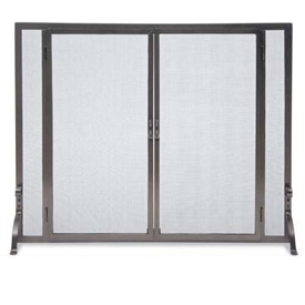 "Pictured here is the Wrought Iron Flat Fireplace Screen with Full Height Doors by Pilgrim, available in two sizes 39""W x 31""H, 44""W x 33""H and 2 iron finishes vintage iron or burnished bronze."