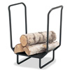 Pictured here is the Firewood Holder with solid iron construction finished in Matte Black.