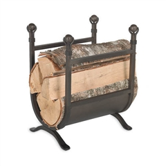 Pictured here is the Ball And Claw Firewood Holder with burnished black iron finish.
