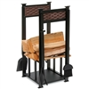 Pictured here is the Basket Weave Fireplace Hearth Center with 4 tools and a convenient wood storage rack in the center.