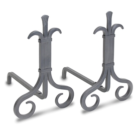 Pictured here are the Grand Forge Andirons in a Natural Iron Finish.