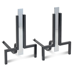 Pictured here are the Stapleton Andirons in black finish and polished nickel accents.