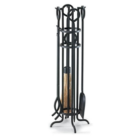 Wrought Iron 5 Piece Arts & Crafts Fireplace Tool Set by Napa Forge