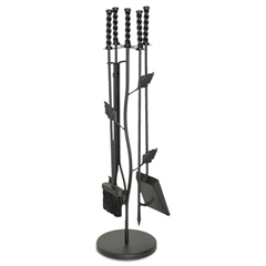 Wrought Iron 5 Piece Garden Leaf Fireplace Tool Set by Napa Forge