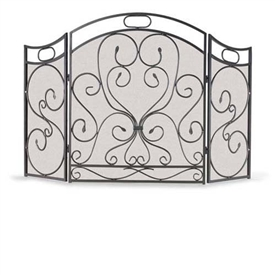Wrought Iron 3 Panel Shakespeare's Garden Fireplace Screen by Napa Forge