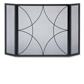 Wrought Iron 3 Panel Forged Diamond Fireplace Screen by Napa Forge