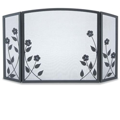 Wrought Iron 3 Panel Forged Floral Fireplace Screen by Napa Forge
