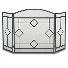 Wrought Iron 3 Panel Art Nouveau Fireplace Screen by Napa Forge