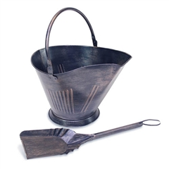 Wrought Iron Coal / Pellet Fireplace Bucket with Shovel by Napa Forge