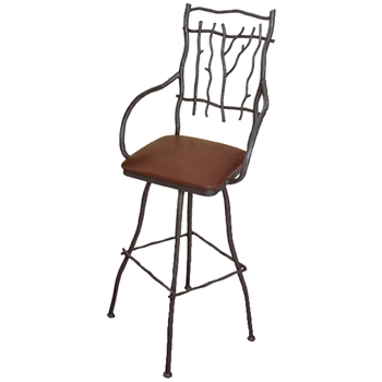"Pictured is our South Fork 25"" Swivel Counter Stool with Arms, hand-forged by artisan blacksmiths."
