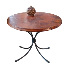 "Pictured here is the Italia Accent Table with 30"" Round Top hand crafted by skilled artisan blacksmiths."