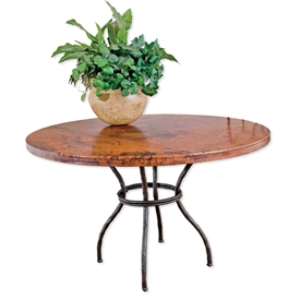 Pictured here is the Woodland Dining Table with 42 inch diameter Copper Top on a hand forged iron table base.