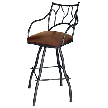 "Pictured is our South Fork Branch 25"" Swivel Counter Stool with Arms, hand-forged by artisan blacksmiths."