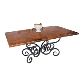 "Pictured here is the Alexander Dining Table with 42"" x 72"" Rectangle Copper Top hand crafted by skilled artisan blacksmiths."